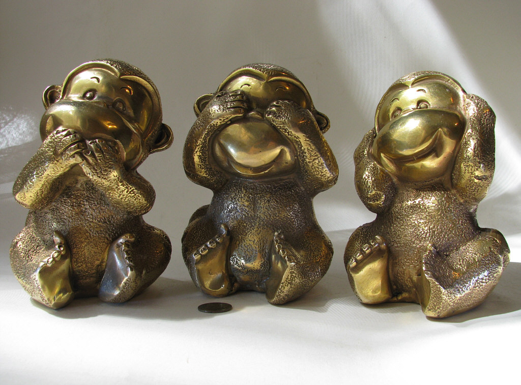 three monkeys brass 20